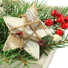 Christmas composition with star and branch of Christmas tree