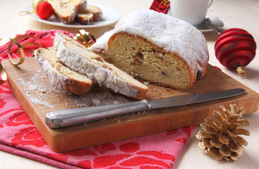 Sliced stollen with christmas decoration