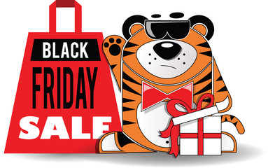 Black Friday shopping bag with the animal in black glasses