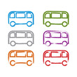 Set of hand-drawn colorful bus icons, collection of illustrated