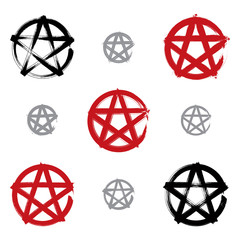 Set of hand-drawn pentagram icons scanned and vectorized, collec