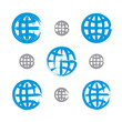 Set of hand-painted earth globe icons isolated on white backgrou