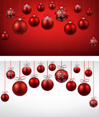 Arc background with red christmas balls.