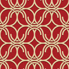 Seamless vintage style circles and waves netting pattern.