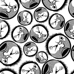 Faces seamless background, vector cartoon style pattern, black a