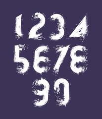 Vector stylish brush digits, handwritten numerals, white doodle