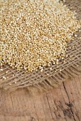 quinoa on wooden surface