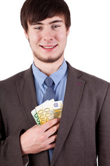 Young man puts his bills is pleased Jacket