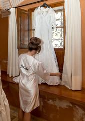 Bride getting ready on her wedding day