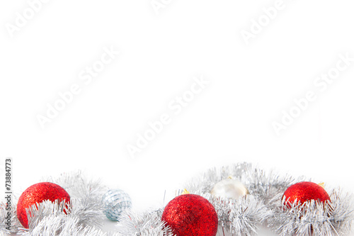 Foto op Canvas Edelsteen Three red new year balls and silver decoration