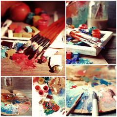 Beautiful still life with professional art materials collage