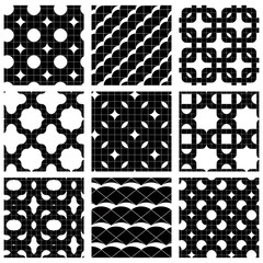 Set of grate seamless patterns with stars, and geometric figures