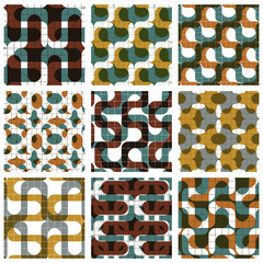 Set of colored grate seamless patterns with labyrinth and geomet