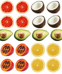 Collage of exotic fruit isolated on white