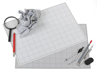 Still life photo of engineering graph paper