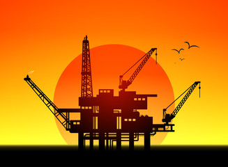 Illustration of oil platform on sea and sunset in background