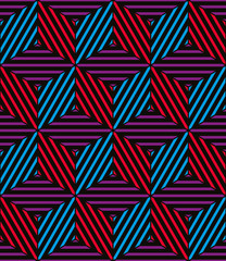 Lined 3d boxes seamless pattern, geometric vector background.