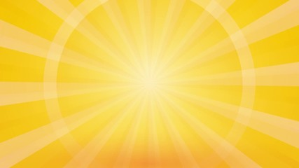 abstract yellow background with rays and pulsating circle endles