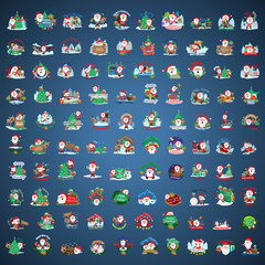 Christmas Icons And Elements Set - Isolated On Blue