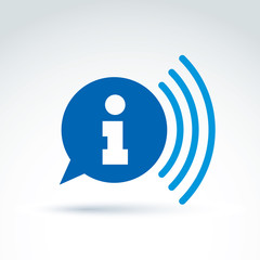 Speech bubble with information sign, blue vector podcast icon. C
