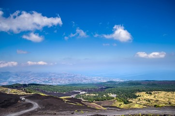 Landscape seen from the top of Etna.