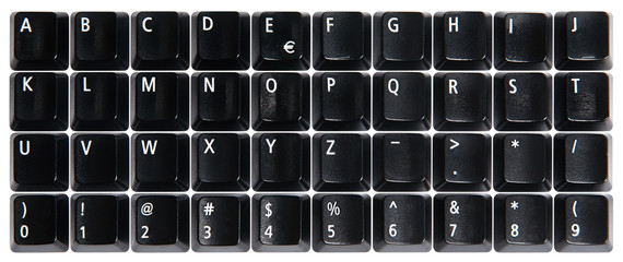 Black computer keyboard keys