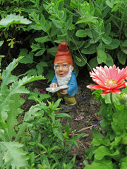 Gartenzwerg mit Buch