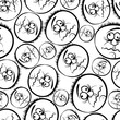 Funny faces seamless background, black and white lines vector ca
