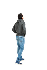 Rear view of man looking away