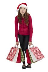 Bored christmas shopping woman