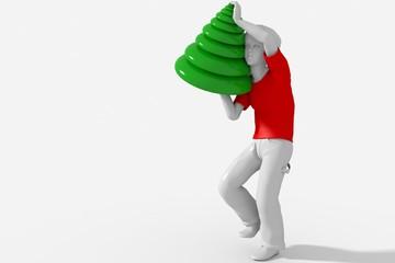 Ragazzo porta a spalla albero Natale design