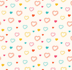 Cute doodle seamless pattern with hearts