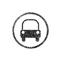 Car icon with hand drawn lines texture.