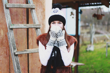 winter portrait of a girl