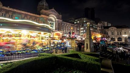 Birmingham German Christmas market carousel time lapse.