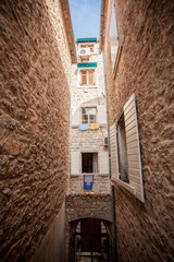 view of old narrow street at mediterranean city