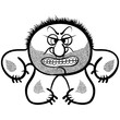 Angry cartoon monster with stubble, black and white lines vector