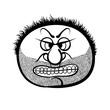 Angry cartoon face with stubble, black and white vector illustra