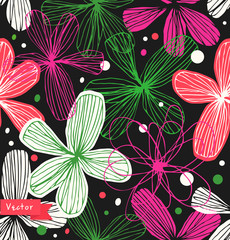 Floral seamless pattern. Colorful beautiful background