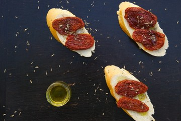 Flavorful starter - sun-dried red tomatoes with oregano