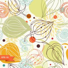 Autumn mix. Floral seamless pattern