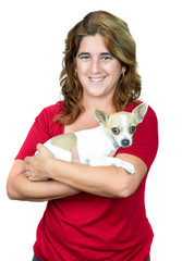 Woman carrying a  chihuahua dog isolated on white