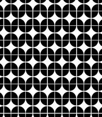 Black and white abstract geometric seamless pattern, vector cont
