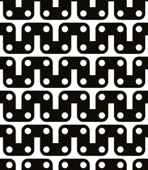 Polka dot seamless pattern with geometric figures, black and whi