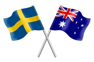 Flags: Sweden and Australia