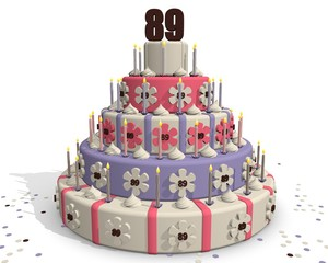 Jarig taart met nummer 89 erop