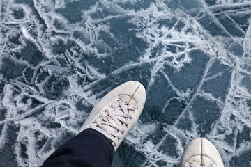 Ice skating on the frozen Lake Baikal