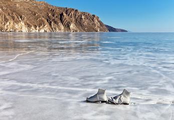 Lake Baikal as a skating rink. Skates are on ice