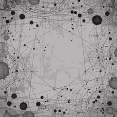 Monochromatic geometric abstract dotted drawing, architecture pr
