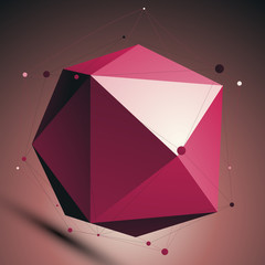 Ruby 3D modern lattice abstract background, origami facet spheri